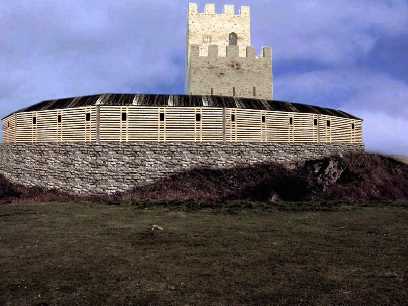 Reconstrucción ideal del recinto superior y torreón de Tudela desde el S.
